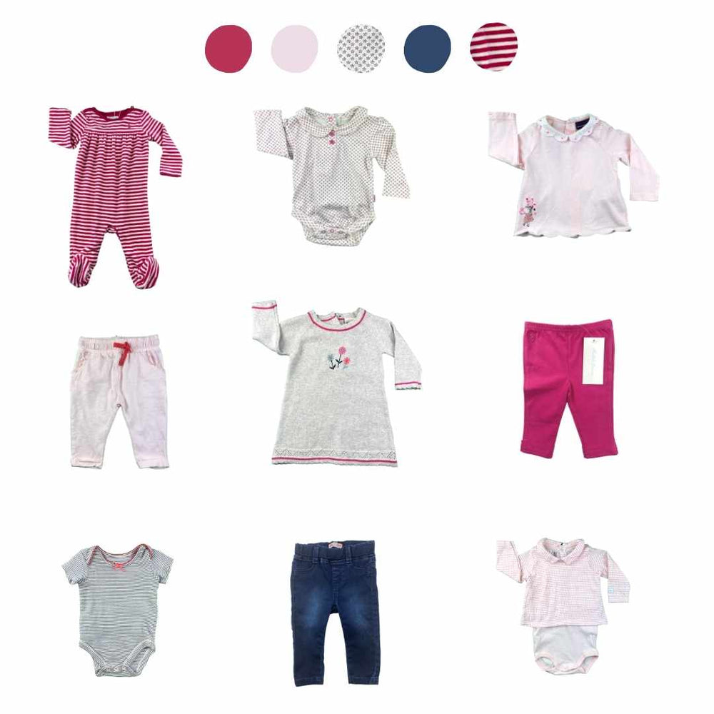 'All You Need Is Pink' 9 piece Capsule Wardrobe: 3 - 6 months