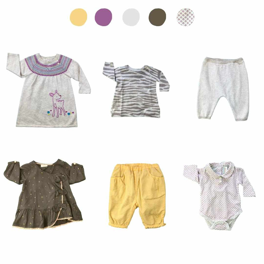'They Thrive Like Wildflowers' 6 piece Capsule Wardrobe: 0 - 3 months