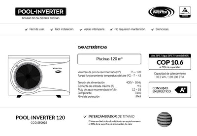 Bomba de Calor - Pool Inverter 120 - Vulcano