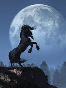 Dark Horse and Full Moon - by Daniel Eskridge - Diamond Painting Kit