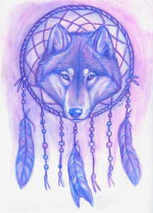 Dreamcatcher Wolf - by Kristina Zurlo - Diamond Painting Kit