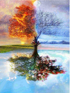 "Four Seasons Tree - Special Offer USA Freeplus 5DArtist 10x12""/25x30cm (Good Results)"
