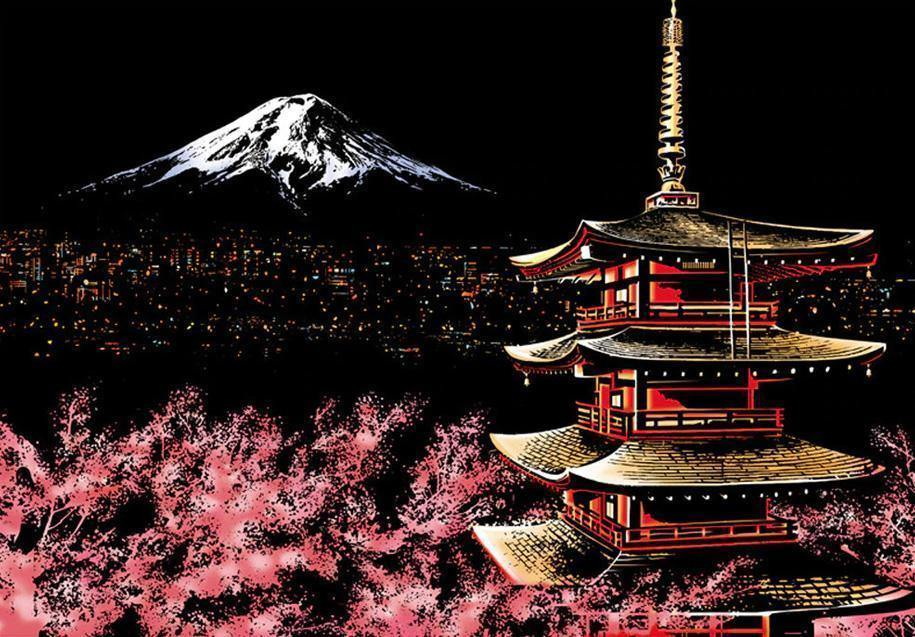 Mt. Fuji - Scratch Art - Special Offer - Diamond Painting Kit
