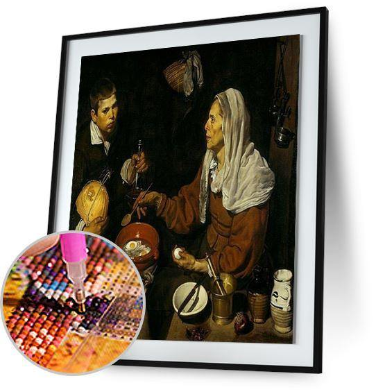 Old Woman Frying Eggs - by Diego Velazquez 5DArtist
