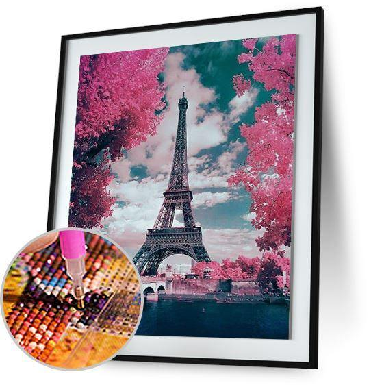 Pink Parisian Trees and Eiffel Tower - New Offer Freeplus 5DArtist