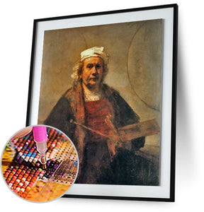 Self-Portrait with Two Circles - by Rembrandt 5DArtist
