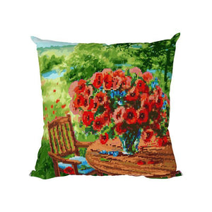 Vase - Diamond Painting Cushion Cover - Diamond Painting Kit