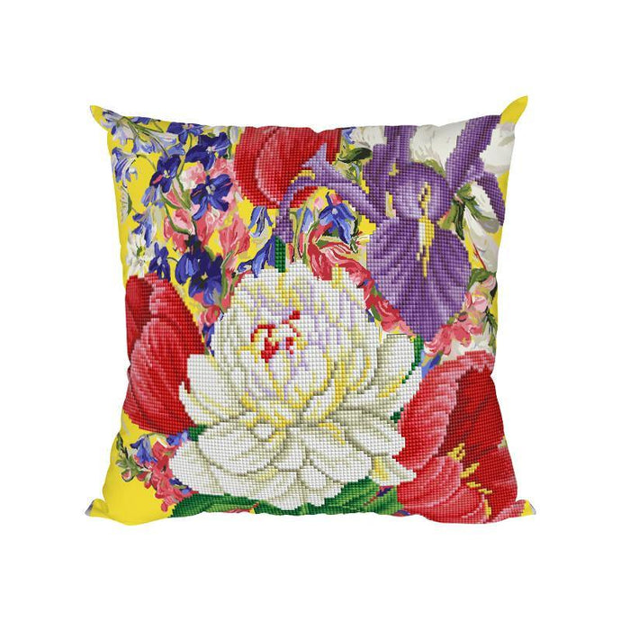 White Flowers - Diamond Painting Cushion Cover - Diamond Painting Kit