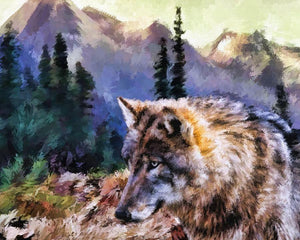 Wolf in the Wilderness - Diamond Painting Kit