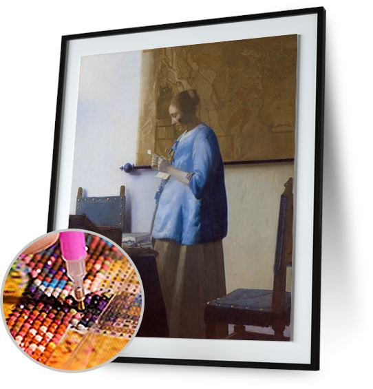 Woman in Blue Reading a Letter - by Johannes Vermeer 5DArtist
