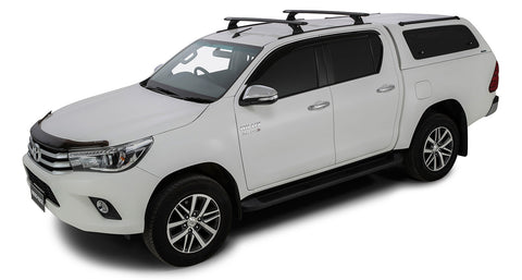 Toyota Hilux 4dr Ute Double Cab 10/15 On Vortex RCH Trackmount Black 2 Bar Roof Rack