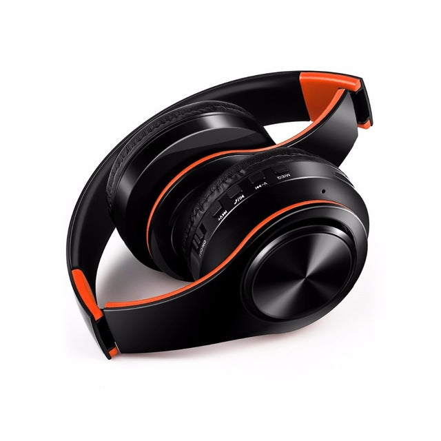 B7 | Foldable Wireless Headset With Microphone - Black Orange / China