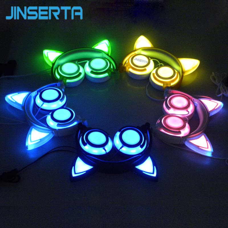 JINSERTA Foldable Headphones | Gaming Earphone with LED Light | Style Cat