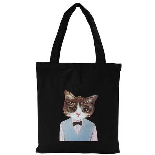 Women Cat Black Canvas Handbags Totes Large Capcity Shoulder Bags Shopping Bags