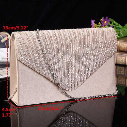 Women  Evening Bridal Wallet Envelope Flash Diamond Clutch