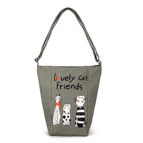 Women Vintage Canvas Cute Cat Handbag Shoulder Bag Messenge Bag