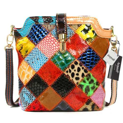 Women Genuine Leather Patchwork Crossbody Bag