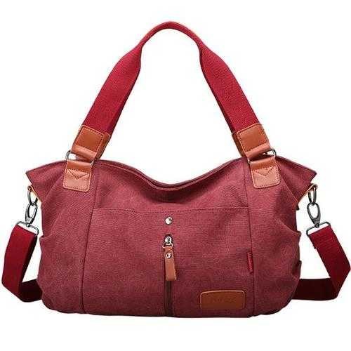 Women Canvas Handbags Casual Shoulder Bags Contrast Color Crossbody Bags