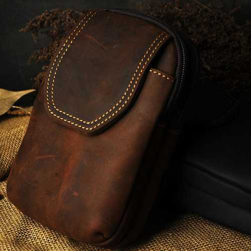 Men Genuine Leather Iphone Small Outdoor Zipper Brown Blue Waist Bag