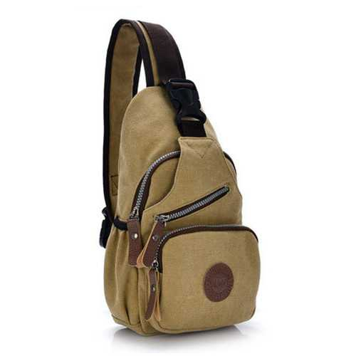 Women Men Canvas Sports Chest Bags Retro Shoulder Bags Outdoor Travel Bags