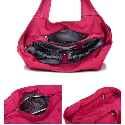 Women Nylon Handbag Solid Tote Bag Multi Pocket Shopping Bag