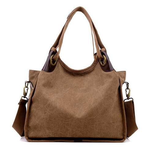 Women Vintage Canvas Tote Bags Ladies Casual Shoulder Bags Crossbody Bags Capacity Shopping Bags