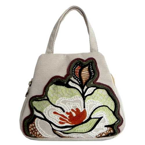 Women Vintage Canvas Handbag Ethnic Style Print Flower Tote