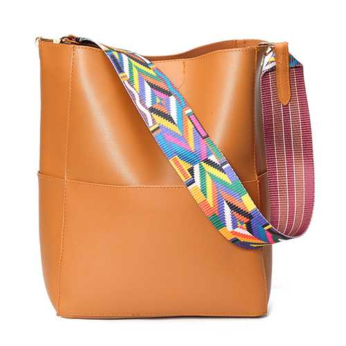 Women Casual PU Handbag Durable Colorful Two Straps Crossbody Bag Shoulder Bag