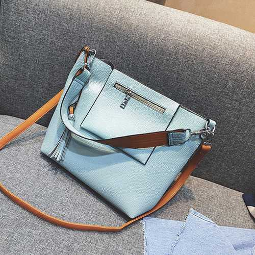 2 Pcs Women Tassel Luxury PU Leather Shoulder Bags Girls Autumn Winter Crossbody Bags