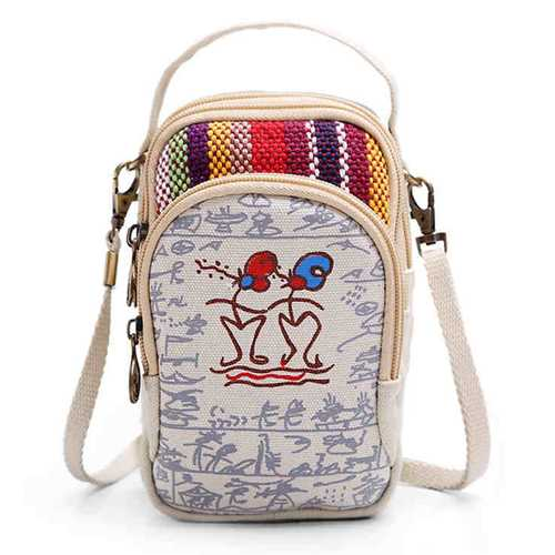 Three Interlayers Canvas Shoulder Bags Girls Mini Crossbody Bags 6.0'' Phone Purse For Iphone 7P