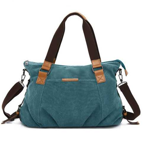 Women Retro Canvas Tote Handbags Casual Shoulder Bags Capacity Shopping Crossbody Bags