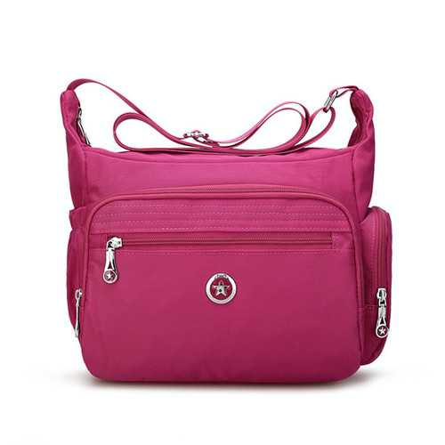 Women Nylon Multi Zipper Interlayer Pockets Shoulder Bags Light Waterproof Crossbody Messenger Bags