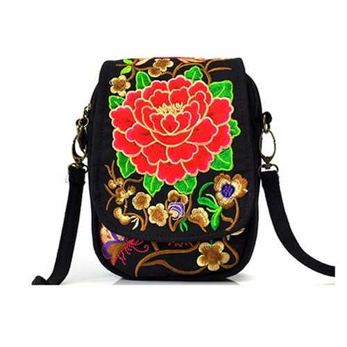 Woman National Floral Canvas 5.5 Inches Phone Bag