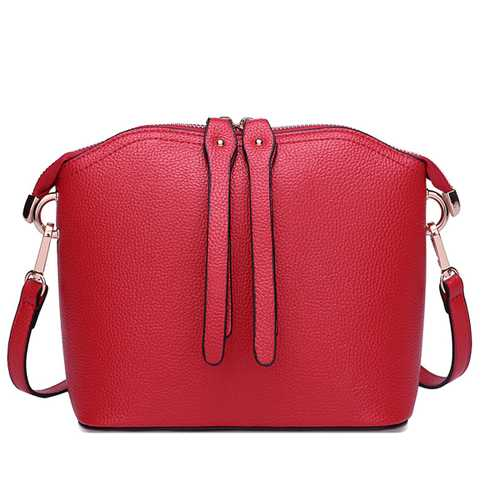 Women Vintage Shell shape Cowhide Casual Crossbody Bag