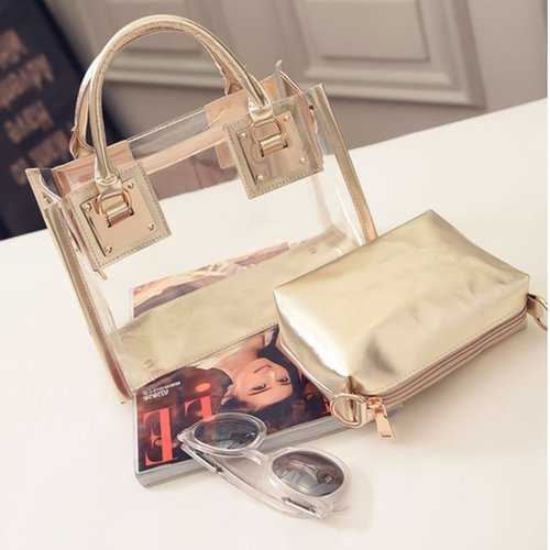 Transparent Gelly Crystal Bag Celeb Tote Sand Beach Bag Shoulder Handbag