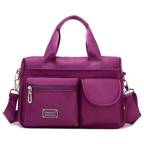 Women Nylon Multi Zipper Pockets Tote Handbags Casual Shoulder Bags Waterproof Crossbody Bags