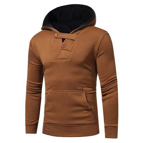 Hit Color Hoodies Sweater Leisure Patchwork Cotton Button Soprts Hoodies Sweatshirts