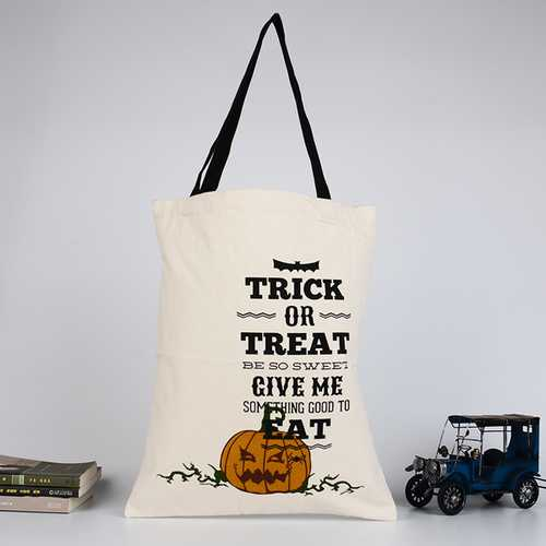 Halloween Bag Canvas Party Halloween Handbag Pumpkin Candy Gifts Bag