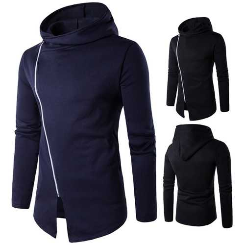 Men's Fashion Decorative Design Dblique Zipper Hoodies Solid Color Casual Sport Hoodies