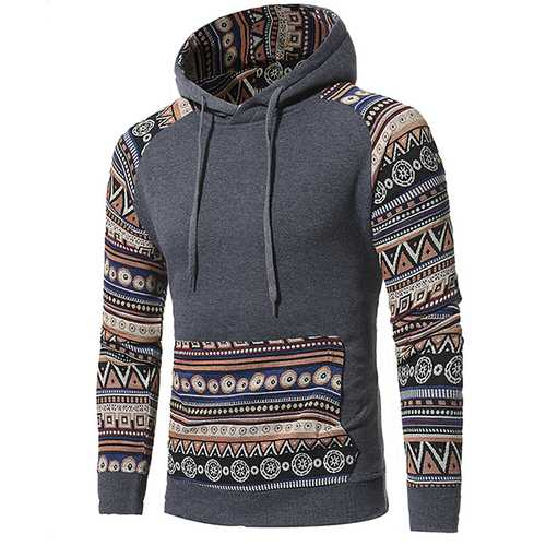 National Style Vintage Hoodies Fashion Men's Front Big Pocket Stitching Leisure Hoodies