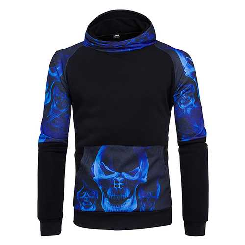 3D Skull Side Printed Hoodies Men's Loose Casual Sports Sweatshirt