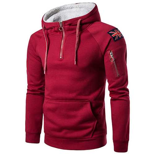 Fashion Zipper Collar Cashmere Hooded Sweater