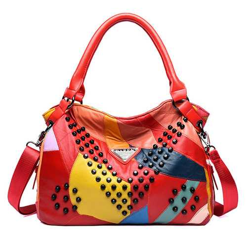 Women Genuine Leather Rivet Fashion Patchwork Handbag