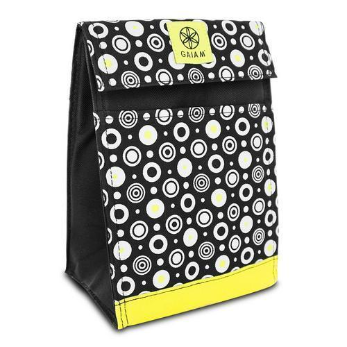 Gaiam Insulated Lunch Bag Tote Leak-Resistant Yellow Circles