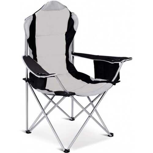 Folding Fishing Camping Chair with Cup Holder Side Bag-Gray