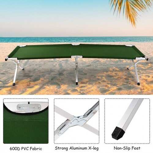 Outdoor Hiking Portable Aluminum Folding Camping Bed with Bag-Green