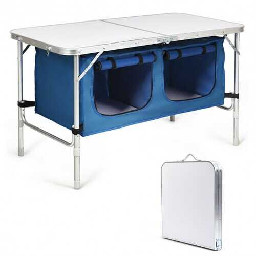 Height Adjustable Folding Camping  Table-Blue