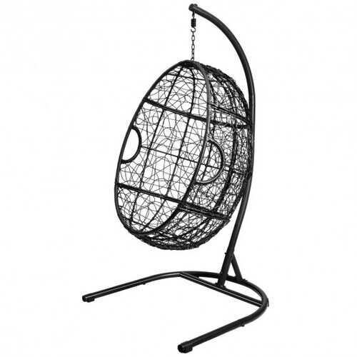 Hanging Cushioned Hammock Chair with Stand -Gray