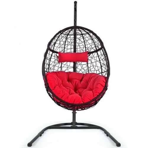 Hanging Cushioned Hammock Chair with Stand-Red