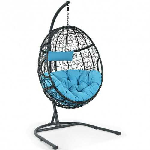Hanging Cushioned Hammock Chair with Stand-Blue
